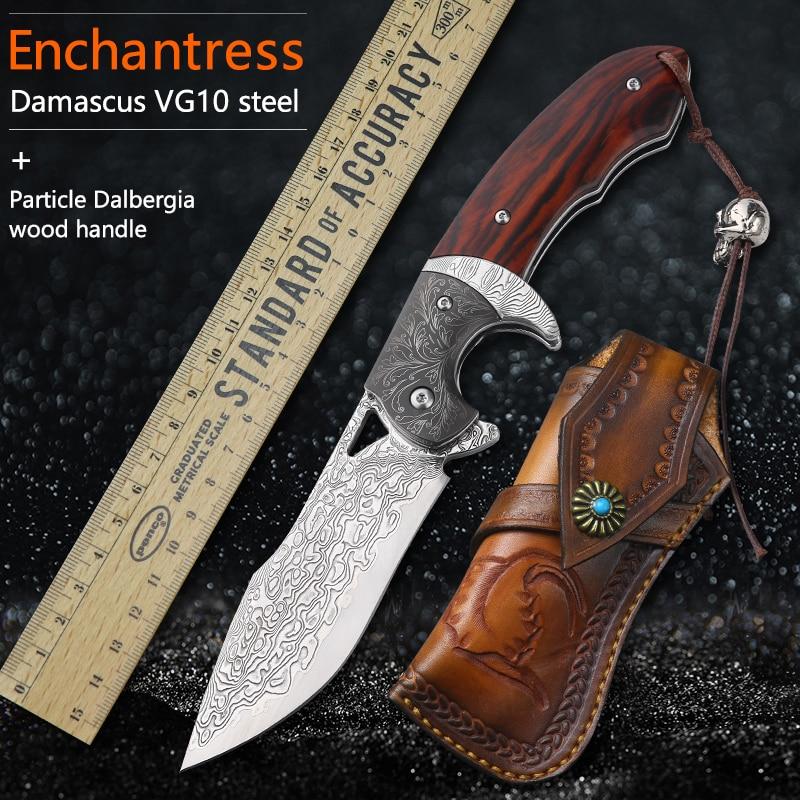 Damaskus Stahl Tasche Messer Tasche Camping Jagd Folding Messer Camping Messer Im Freien Werkzeuge Taktische selbstverteidigung|Knives|   - AliExpress