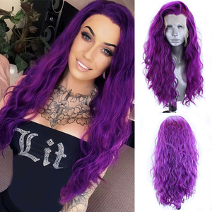 Charisma Long Water Wave Wig Purple Color Synthetic Lace Front Wig Heat Resistant Fiber Hair Cosplay Wigs for Women Grey Wigs