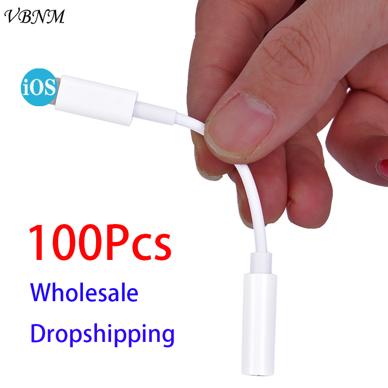 100 Pcs IOS 11 12 Headphone Adapter For IPhone 7 8 X AUX For Lightning Female To 3.5mm Male Adapters Headphone Jack Cable