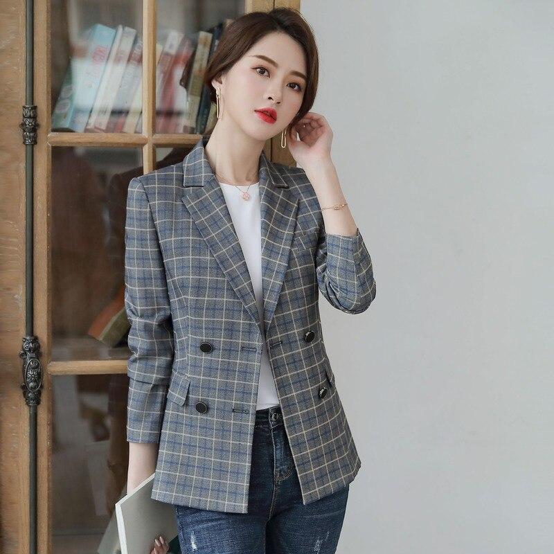 Women Clothes Autumn and Winter Fashion Lattice Retro Short Coat Casual British Style Small Suit Plaid Suit Jacket Female