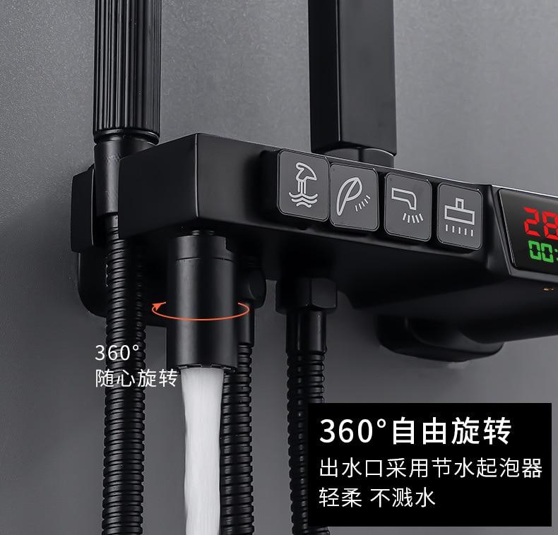 H58d68ca035774c659ccc9cc0ad30c299d AE02XC-0008 bathroom shower system full copper black digital display thermostatic shower set four-speed pressurized shower head