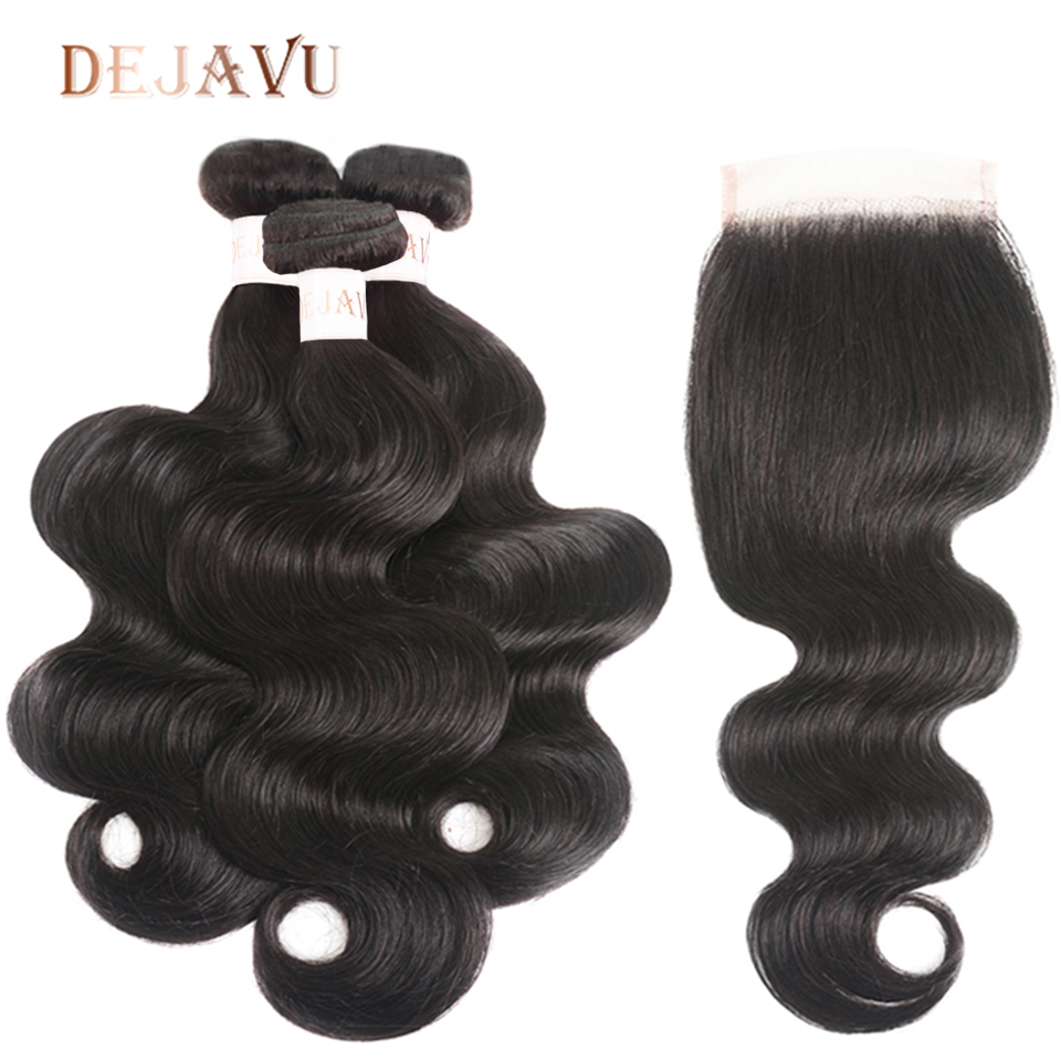 DEJAVU Body Wave Bundles With Closure 100% Human Hair Bundles With Closure 8-28Inch Brazilian Hair Weave Bundles For Wedding