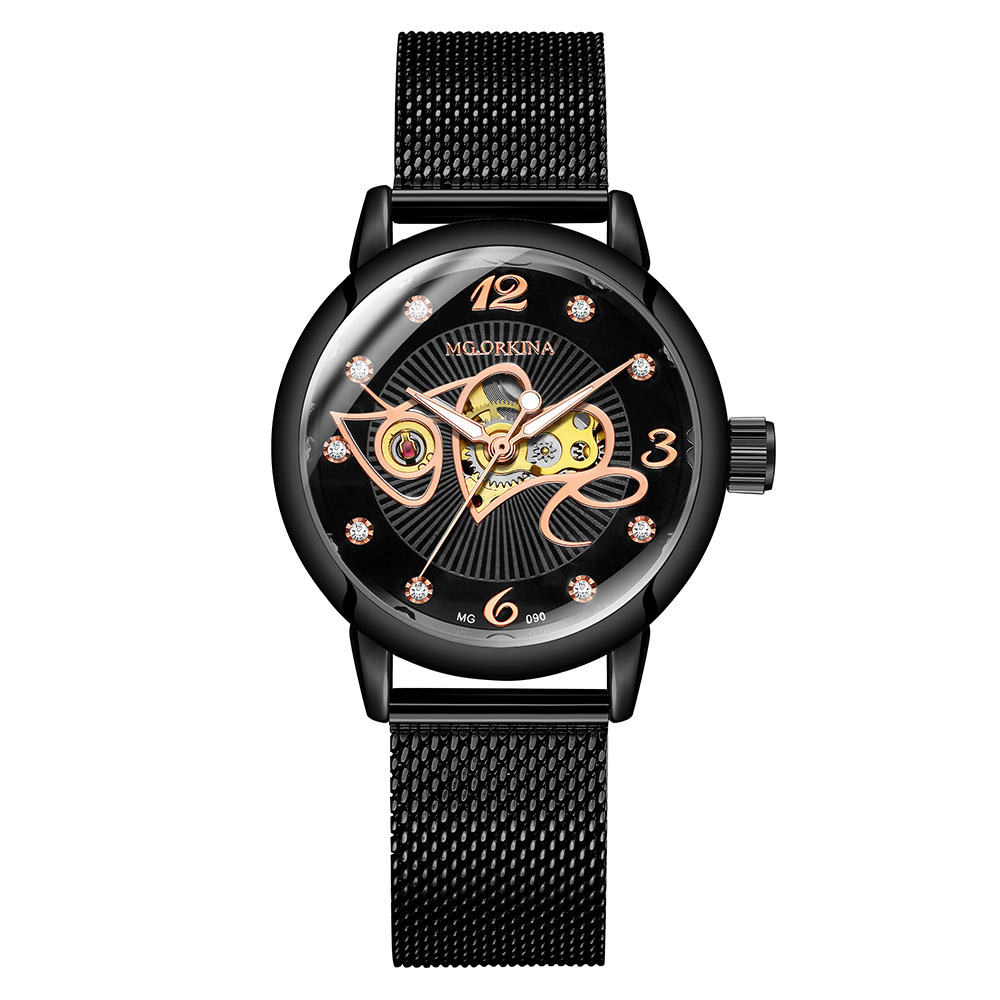 2019 Black Classic Women Mechanical Wristwatches Luxury Top Brand Automatic Watch Skeleton Bracelet Mesh Strap Ladies Watches
