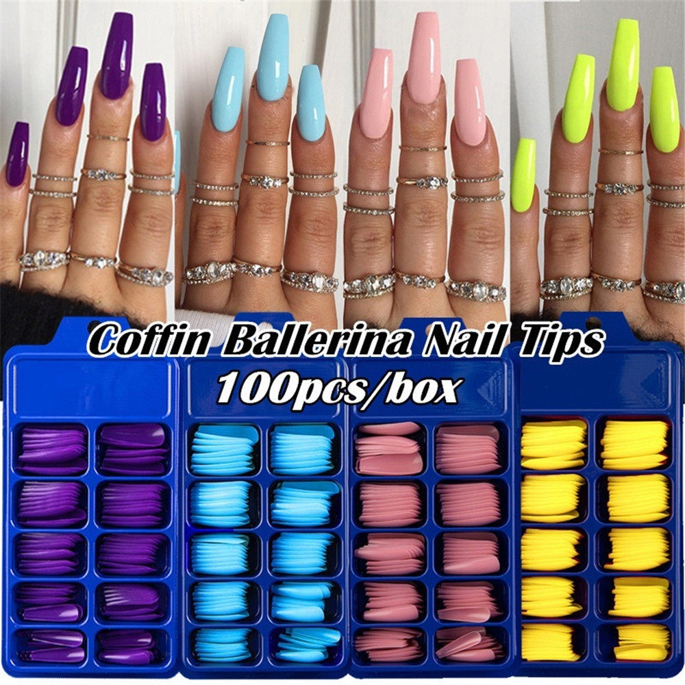 24/100Pcs Candy Color False Nail Tips Full Cover Matte Acrylic Ballerina Fake Nails Tip DIY Beauty Manicure Extension Tools