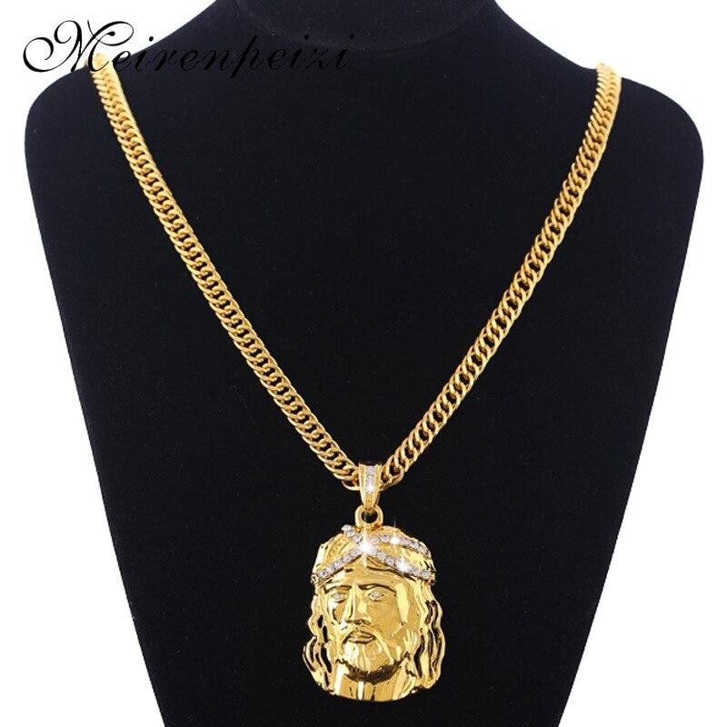 2020 cross-border supply large fashion hip hop Jesus necklace men's gold necklace wholesale