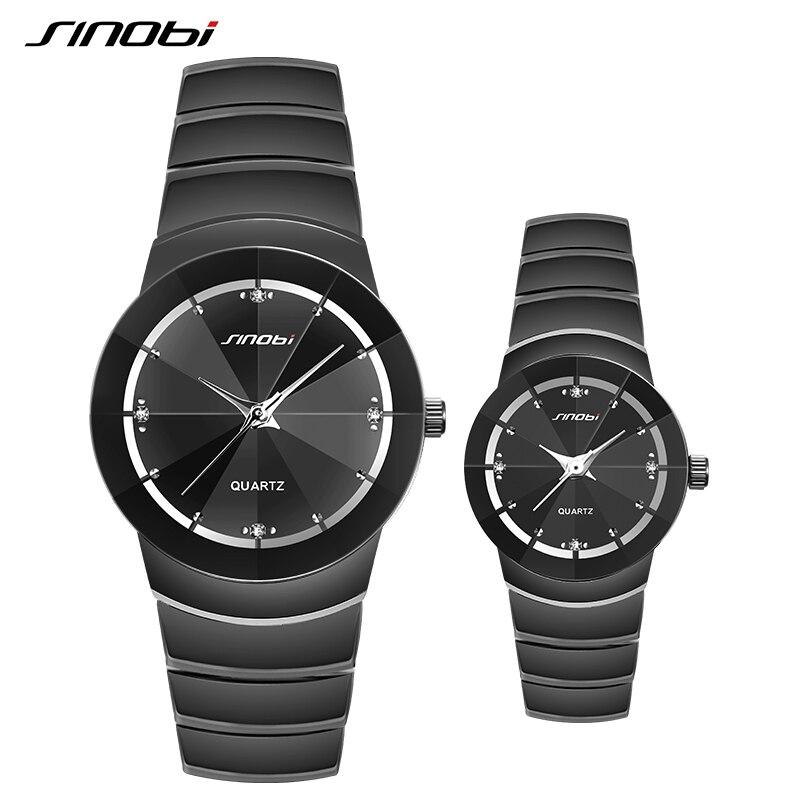 Sinobi Brand Couple Write Watch Black Color Bracelet Clasp Quartz Wristwatch For Women And Men Wholesale Dropshipping