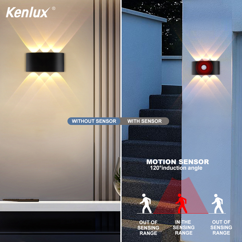 Outdoor Indoor Sensor Wall Lamp Nordic Led Aluminum Up Down Wall Lights Modern For Home Stairs Bedroom Bathroom Beside Lighting