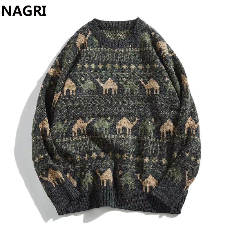 Men Sweater 2019 Folk-custom Pattern Pullover Men Soft Knitted Jumper Knitted Sweater Pullover Men Cold Warm Casual Sweater