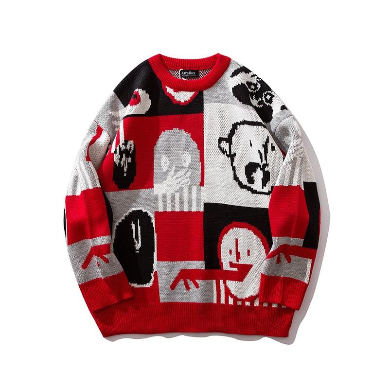 Autumn 2019 Mens New Cartoon Sweater Hip Hop Sweater Cotton Loose Streetwear Oversized Mens Fashion Pullover