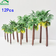 12Pcs/Lot Architectural N Scale Model Trees Train Railway Model Scenery Layouts Miniature HO Small Palm Tree Green Metrails