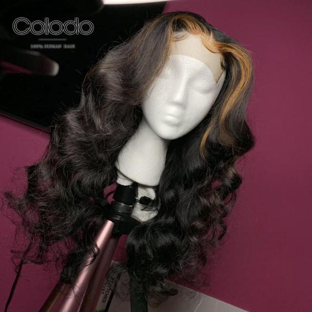 COLODO Pre Plucked #4 Roots Blonde Highlights Color Body Wave Wig Brazilian Remy Hair Full Lace Human Hair Wigs for Black Women 3