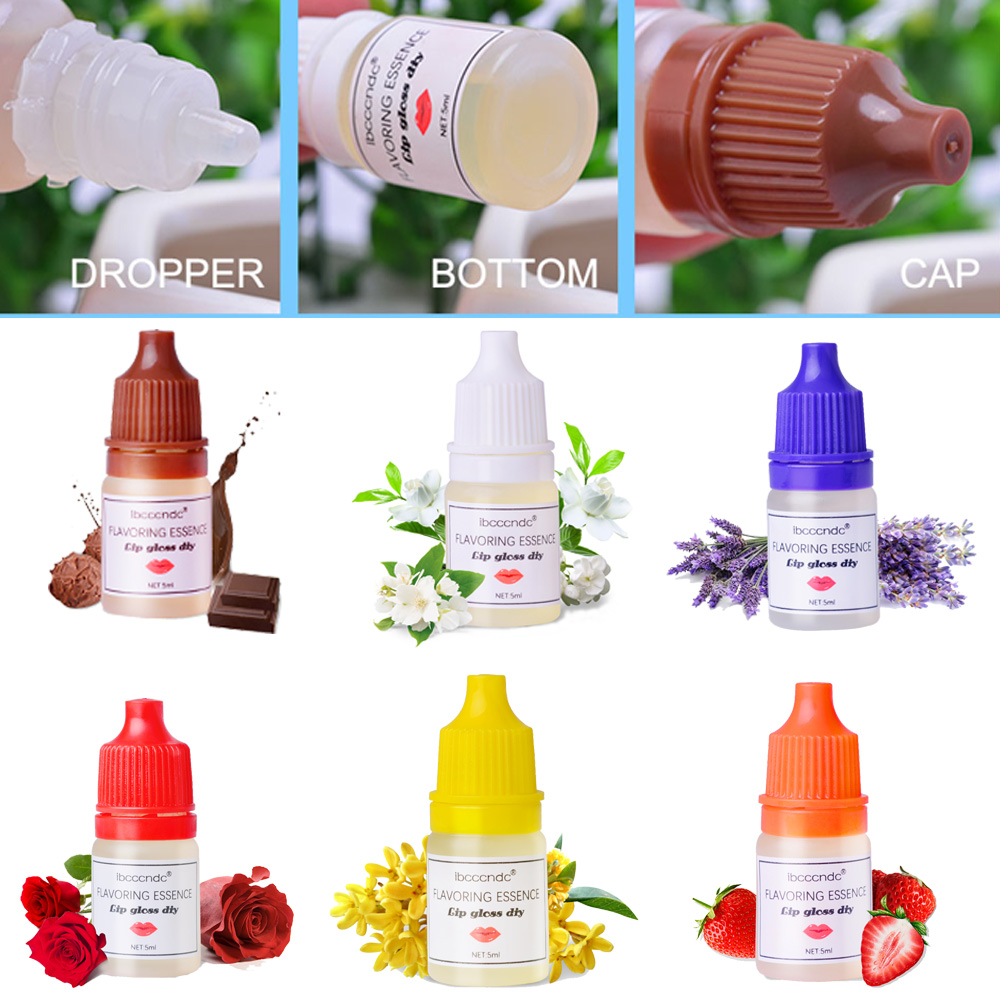 7Flavors/Kit Natural Flavor Essence For Handmade Cosmetic Lip Gloss Base Lipgloss DIY Food Grade Fragrance Flavoring Essential