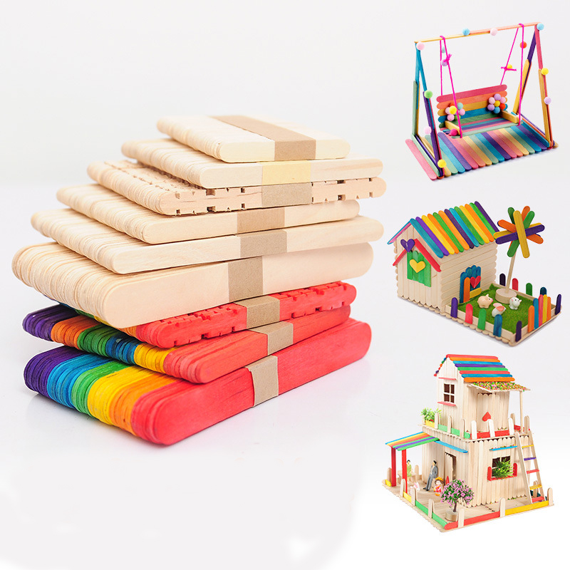50PCS/Wood Popsicle Stick Natural Wood Ice Cream Stick Children DIY Handmade Crafts ArtI Ce Cream Lollipop Cake Photo Frame Tool