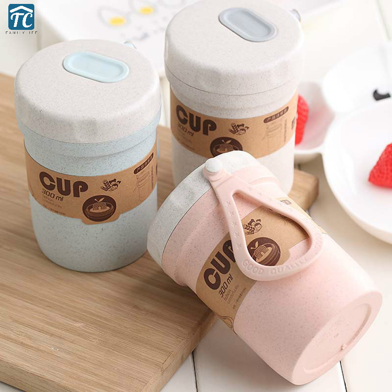 Wheat Straw Soup Box Lunch Box Breakfast Porridge Cup Portable Breathable Sealed Soup Cans Microwave Bento Boxes Container image
