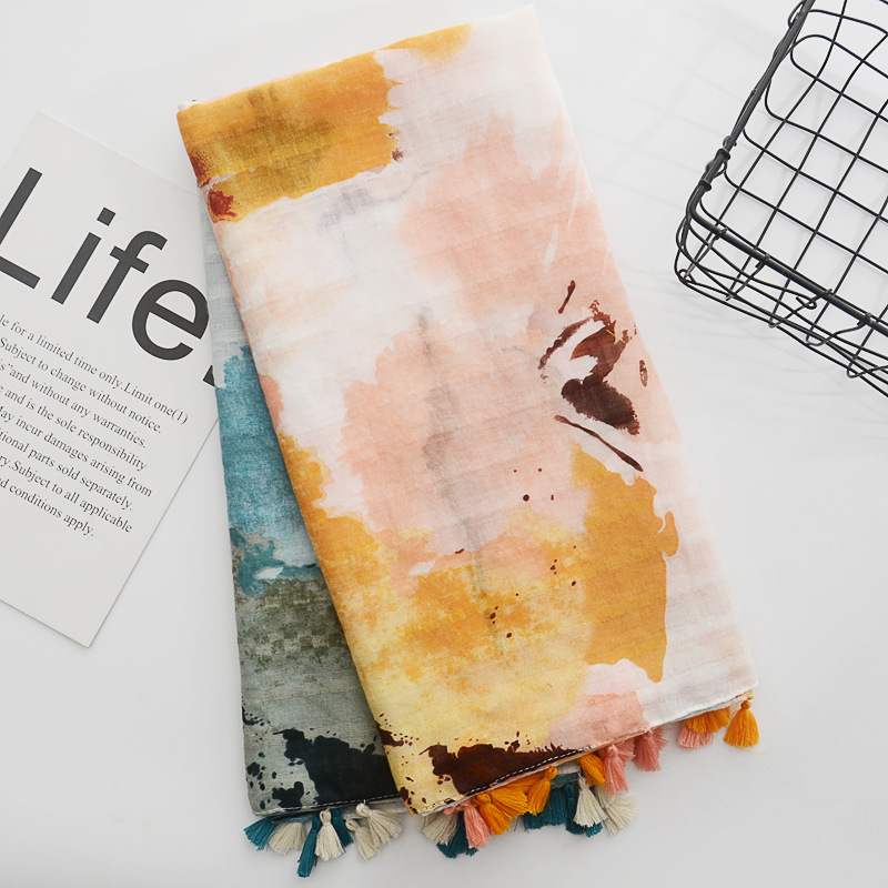 Retro Ethnic Chinese Style Ink Splashing Printing Cotton And Hemp Scarf Spring And Summer Tourism Small Fresh Sunscreen Shawl