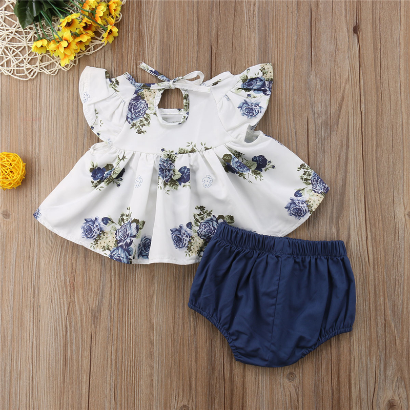 0-24M Baby Bodysuit New Newborn Infant Kids Baby Girl Floral Tops+Shorts 2pc/Set Outfits O-neck Flower Print Twins Baby Clothes