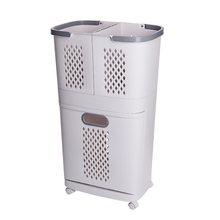 Household Classification Dirty Clothes Basket Large Size Toilet Clothes Storage Basket Removable Shelf Layered Classification