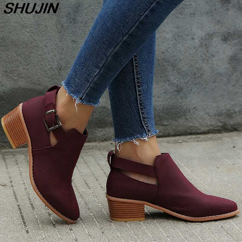 SHUJIN Fashion Winter Boots Women 2018 Hoollow Out Ankle Boots For Women Pointed Toe Square Heel Ladies Shoes Bota Feminina