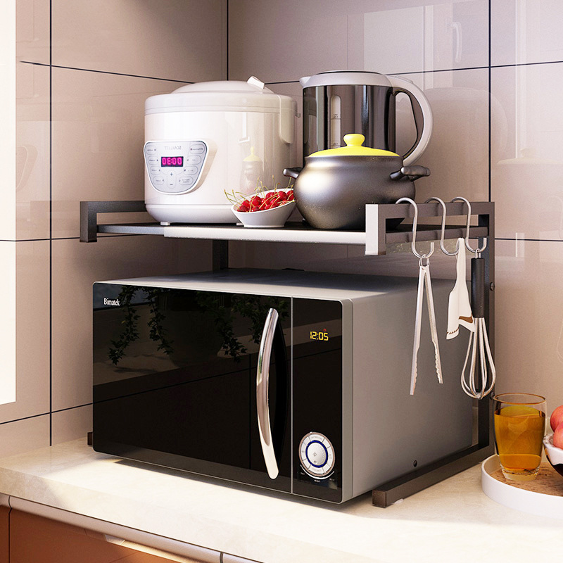 Help You Storage Shelf Oven Microwave Oven Shelf Seasoning Storage 201 Stainless Steel Double Layer Floor Kitchen