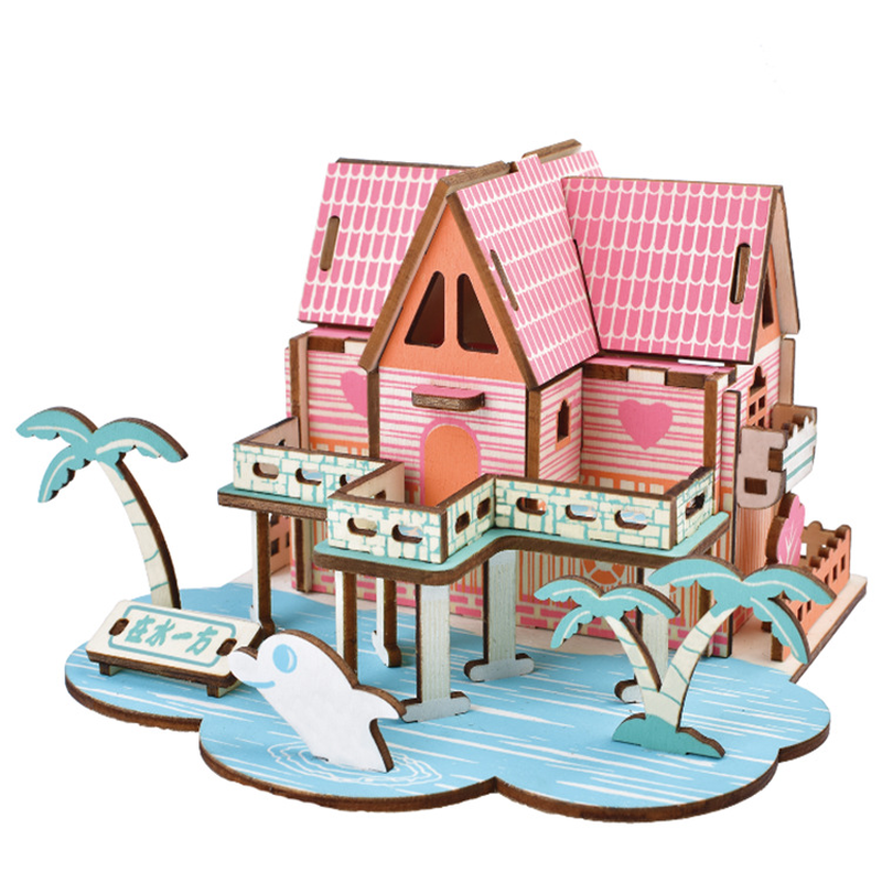Drewniane zabawki 3d zestaw puzzli montowane Diy ręcznie robione dla dzieci dostosowane wczesna edukacja building Blocks klocki