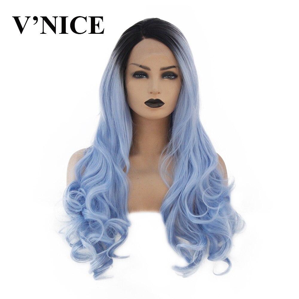 V'NICE perruque avant en dentelle synthétique liée à la main résistant à la chaleur bleu Rose Rose vin rouge perruques pour les femmes 20-26 pouces cheveux frontaux ondulés