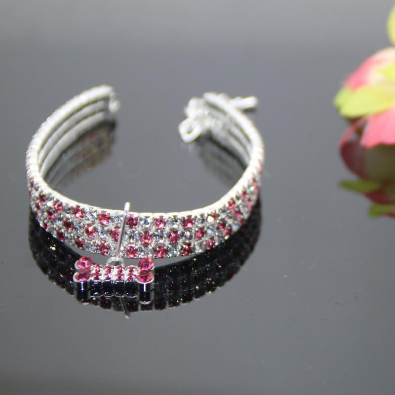 New Style Diamond Set Color Mixture Pet Collar Elasticity Gou Xiang Lian Accessories Small And Medium-sized Dogs