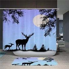 Animal sika deer shower curtain bathroom pendant curtain water shower curtain for home decoration with hook deer water resistant shower curtain