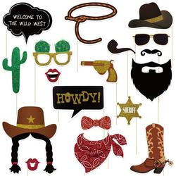 Tinksky 18pcs Creative Paper Funny Photo Booth for West Style Party Cowboy Gathering