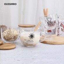 OUSSIRRO 450 мл милый кот стеклянная чашка с ложкой крышка кофе молоко чай вода чашки творческие рождественские подарки