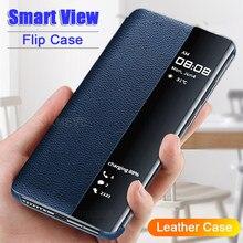 Smart View Leder Fall Für Huawei P40 P30 P20 Mate 40 Mate 30 Mate 20 Mate 10 Mate 9 Pro mate 20 P30 Lite P10 Plus Flip Abdeckung