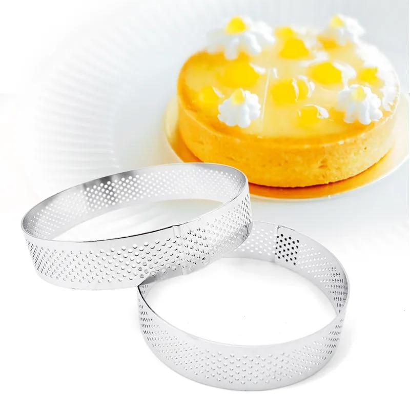 6 8 10 CM anello in acciaio inossidabile per crostata anello per tortiera stampi per Mousse per torta cerchio per taglierina anello per torta resistente al calore perforato