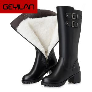 Winter Shoes Boots Platform High-Heels Thick Genuine-Leather Fashion Woman Warm Wool