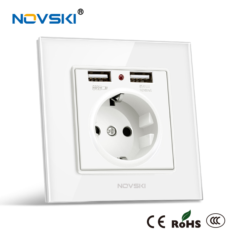 розетка с Usb 2.1A Wall Charger Outlet Socket German Bayer Base 16A AC 110-250V Schuko F Plug Grounding, Tempered Glass, NOVSKI