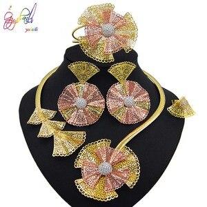 Image 4 - Yulaili Trendy Crystal Rhinestones Flower Shape Necklaces Pendant Earrings Bracelet Ring African Beads Women Dubai Jewelry Sets