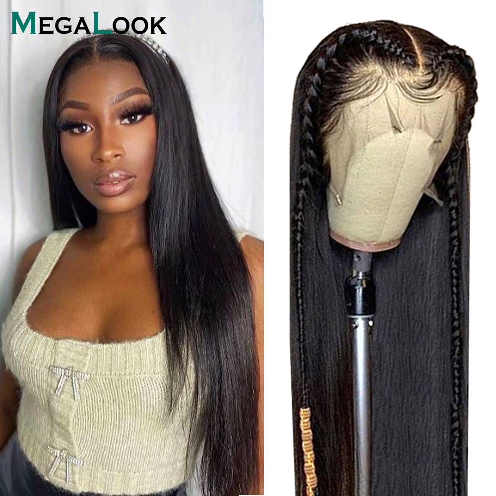 Megalook Brazilian Bone Straight Hair Wig 13x4 Lace Front Wig Human Hair Wig Natural Color Remy Lace Front Wig With Baby Hair