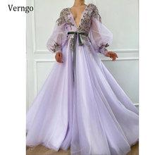 Verngo лиловый Тюль с пышными прозрачными длинными рукавами