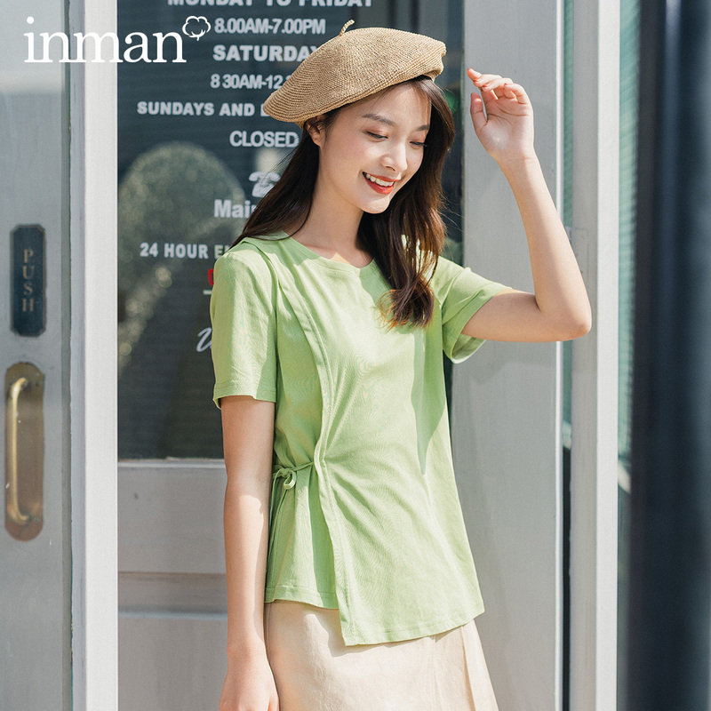 INMAN 2020 Summer New Arrival Short Sleeve Round Collar Irregular Shape Sweet Cool Style Women Slide Bandage T Shirt