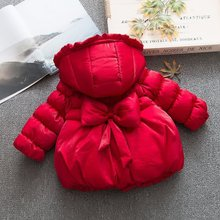 winter baby girls bow cotton cotton-padded Hooded jacket coa