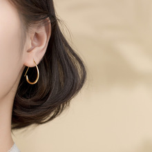 New 925 Sterling Silver D Shape Big Hoop Earrings Texture Office Fashionable Womens Festival Jewelry Charm