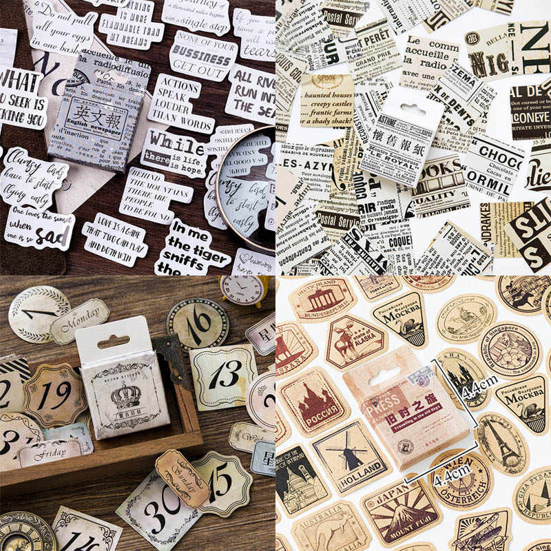 46pcs/box Vintage Travel Stickers Kraft Decorative Adhesive Label Sealing Stickers Decorations Scrapbooking Diary Diy Albums