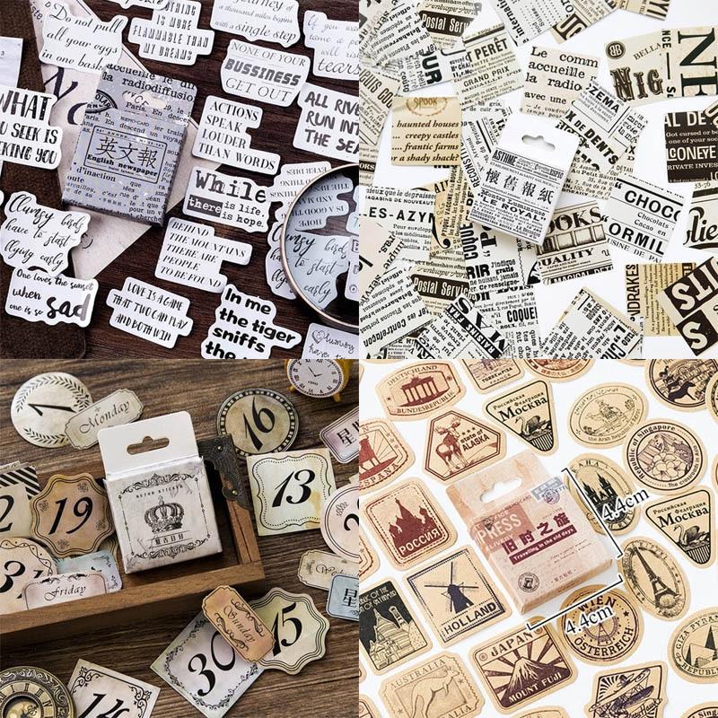46pcs/box Vintage Travel Stickers Kraft Decorative Adhesive Label Sealing Stickers Decorations Scrapbooking Diary Diy Albums