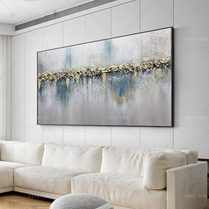 Art Colorful Gray White Blue Light Oil Painting Canvas For Room Decor Modern 100% Handmade Abstract Picture Painting(China)