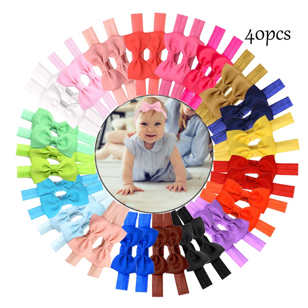 40Pcs Baby Headbands 2.75Inch Nylon Bows Hairbands Hair Bow Elastics Accessories For Baby Girls Newborn Infants Toddlers