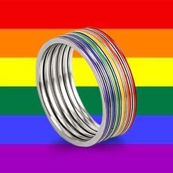 Кольцо из нержавеющей стали для мужчин и женщин, Радужное цветное ЛГБТ-кольцо, модные кольца lebian & геев, кольца в подарок для пары