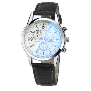 Image 2 - Mens Watch BlueRay Glass Leather Belt Mens Watches Geneva Business Wristwatch  Relogio Masculino Anniversary Gifts for Husband