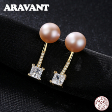 925 Sterling Silver Pave Cubic Zircon Pearl Stud Earrings For Women Fashion Jewelry