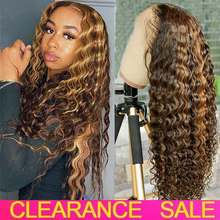 Ombre Deep Wave Frontal Wig Honey Blonde Transparent Lace Wigs Curly Lace Front Human Hair Wigs T Part Highlight Deep Wave Wig