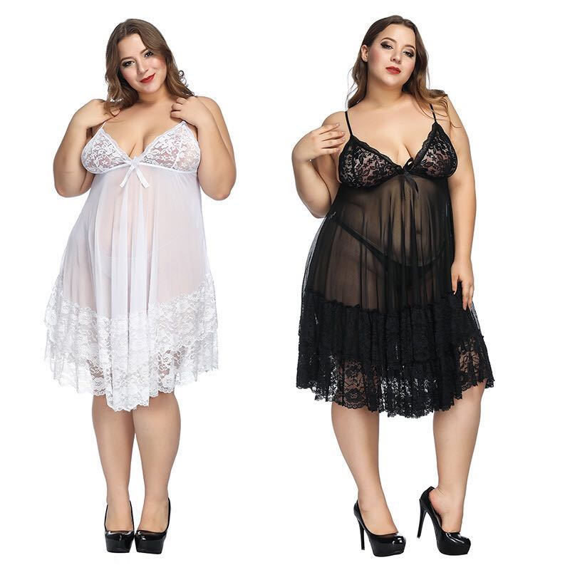 Top Fashion Sexy Nightdress Plus Size Pajamas Women'S Pajamas Home European And American Sexy Lingerie Black Red White