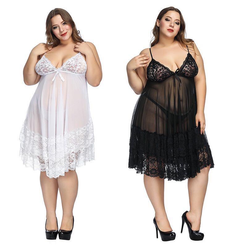 Top Fashion Sexy Nightdress Plus Size Pajamas Women'S Pajamas Home European And American Sexy Lingerie Black Red White