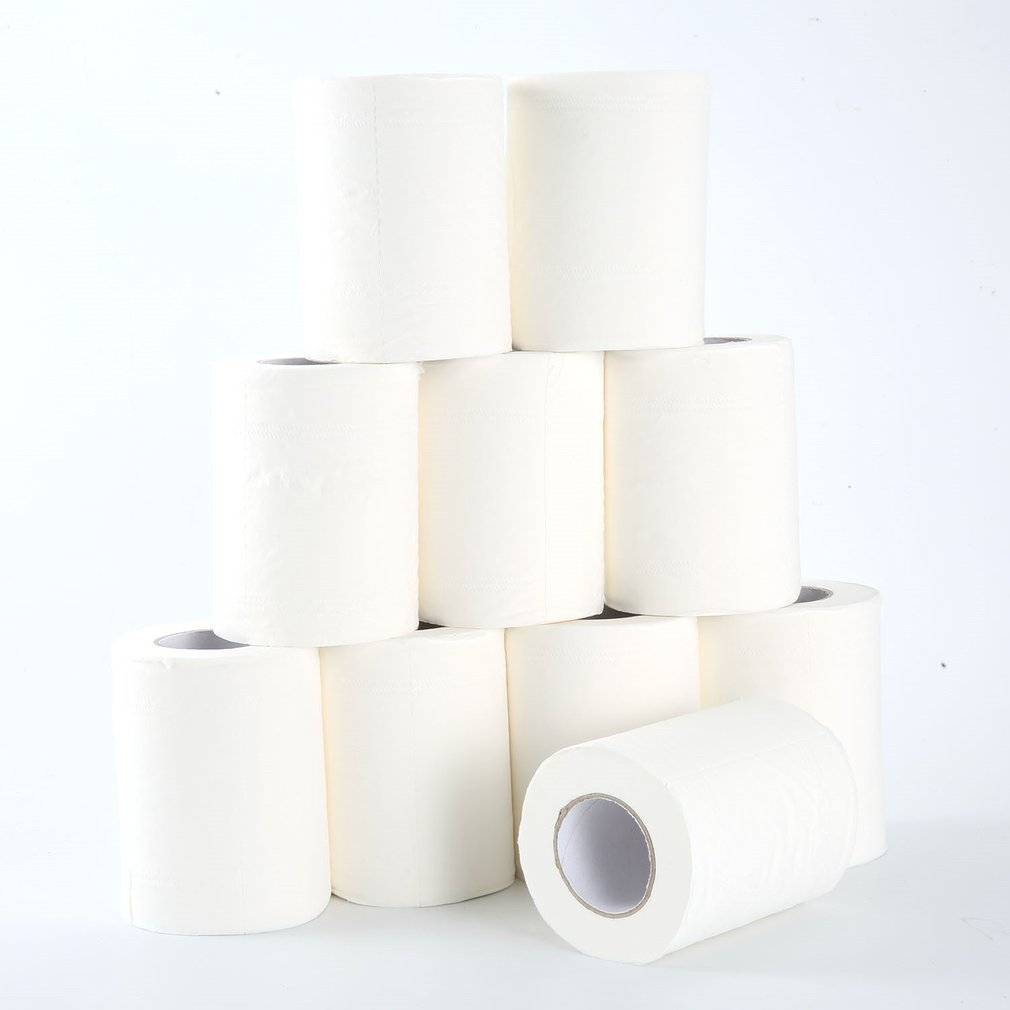 Home Bath Toilet Roll Paper Restaurant Hotel Roll Paper Household Toilet Paper Primary Wood Pulp Tissue Roll Paper 10 Rolls